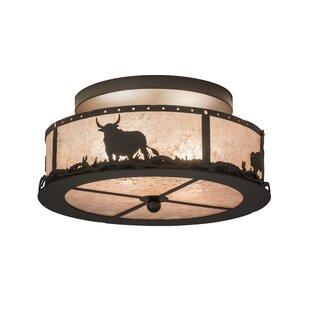 Meyda Tiffany Cowboy and Steer 2-Light Flush Mount