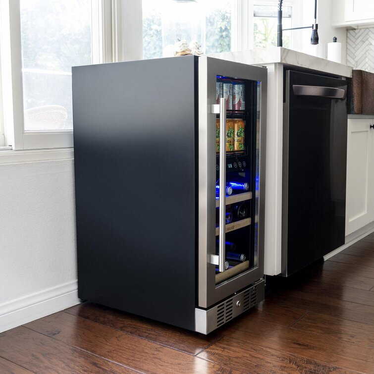 9 Bottle and 48 Can Capacity NewAir Dual Zone Freestanding/Built-In Wine and Beverage Refrigerator