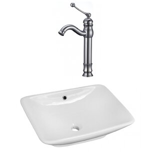 Shop For Ceramic Rectangular Vessel Bathroom Sink with Faucet and Overflow By American Imaginations