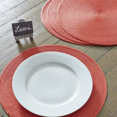 Birch Lane™ Heritage Round Braided Placemats Color: Guava