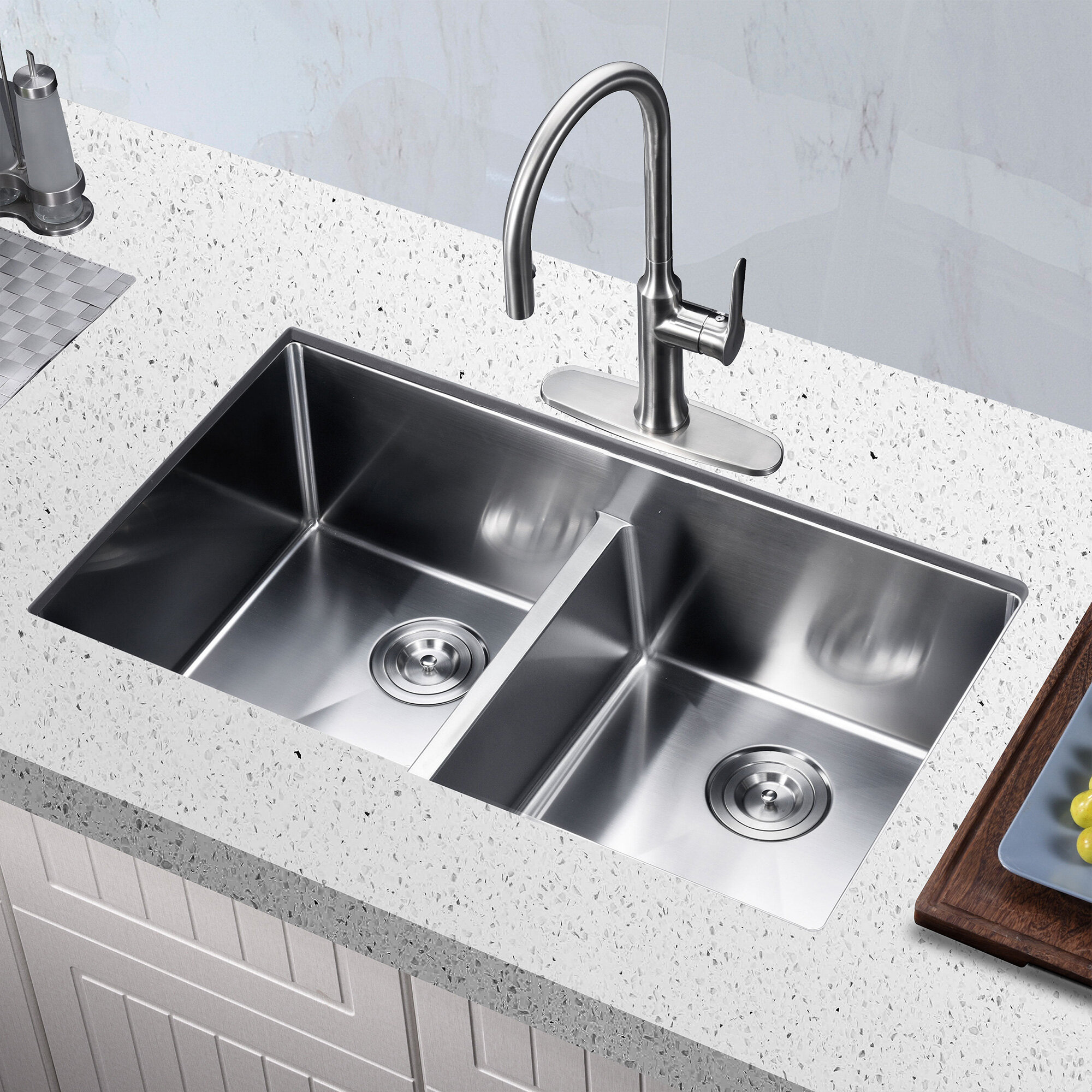 Koozzo Low Divide Stainless Steel 32 X 19 Double Basin Undermount Kitchen Sink With Basket Strainer Wayfair