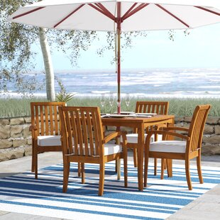 Tovar Tapered Square 5 Piece Dining Set with Cushions