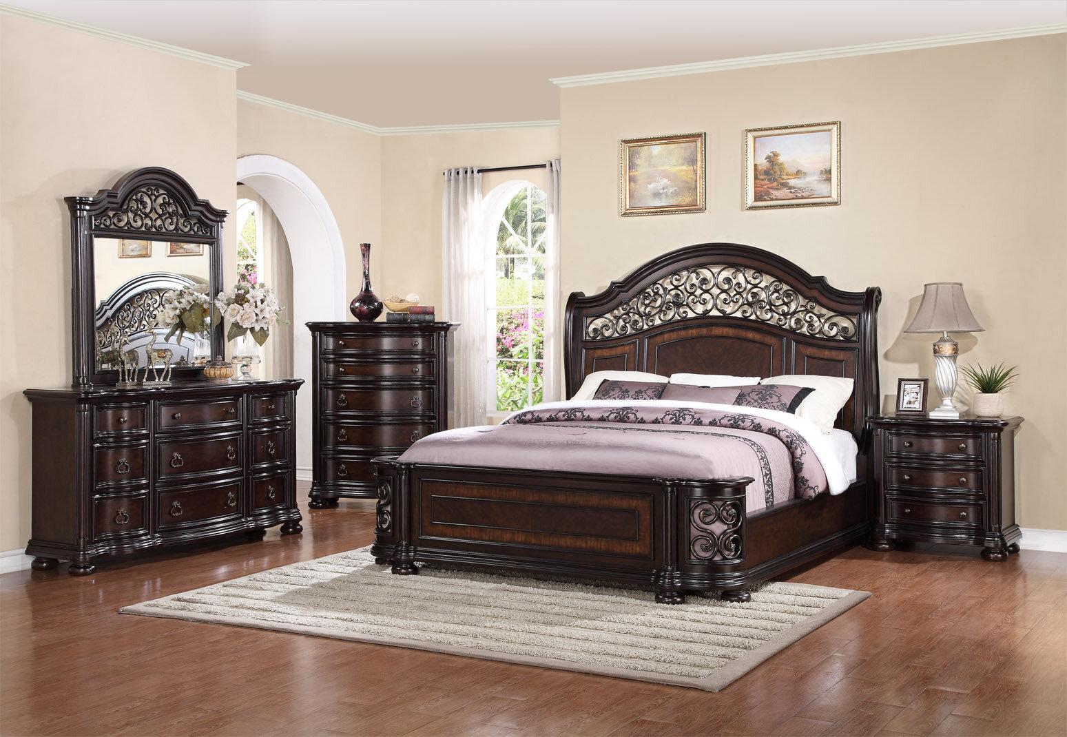 Kelsey Traditional Luxury Queen Poster Bed 4 piece Cherry Bedroom Furniture  Set