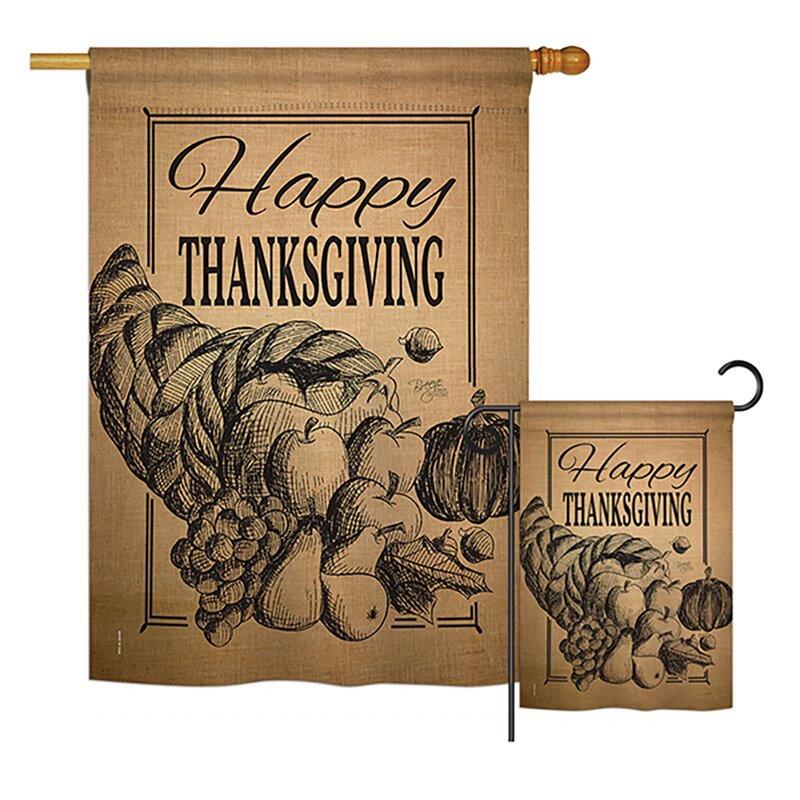 Breeze Decor Happy Cornucopia Burlap Fall Thanksgiving 2 Sided Polyester 2 Piece Flag Set Wayfair