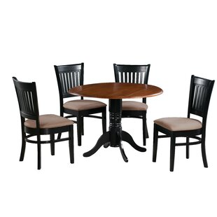 Sheri 5 Piece Drop Leaf Solid Wood Dining Set