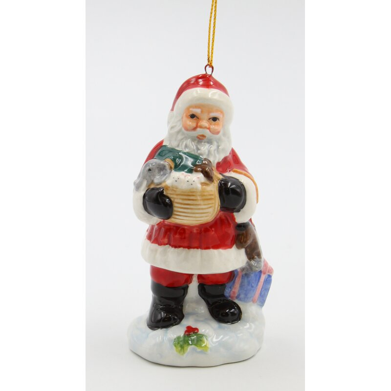 The Holiday Aisle Santa Holding A Noah S Ark Hanging Figurine Ornament Wayfair