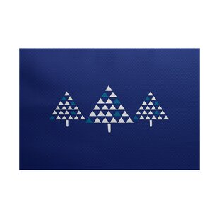 Christmass Tree Blue Indoor/Outdoor Area Rug