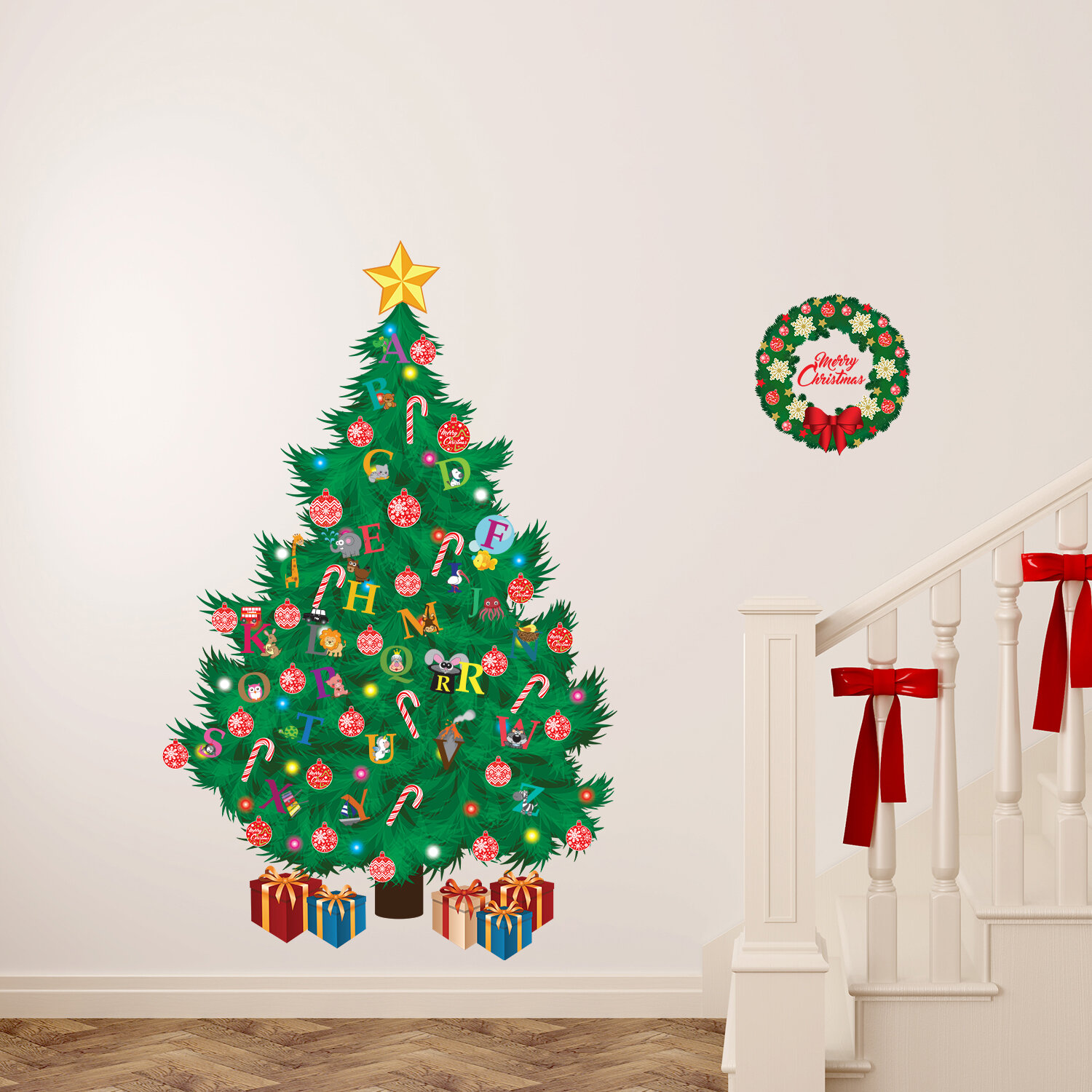 The Holiday Aisle Learn the ABC and Traditional Christmas Tree Wall Decal |  Wayfair