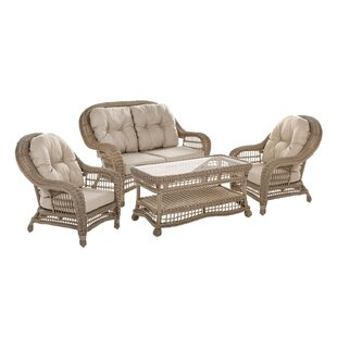 Ophélie 4 Piece Rattan Sofa Set with Cushions