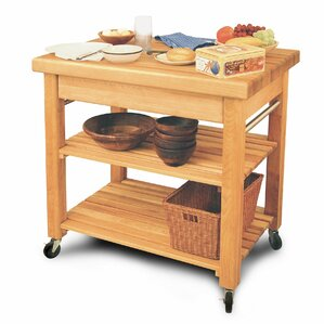 French Country Kitchen Island with Butcher Block Top by Catskill Craftsmen, Inc.