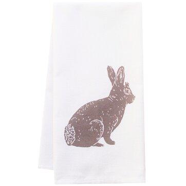 Organic Bunny Block Print Kitchen Towel
