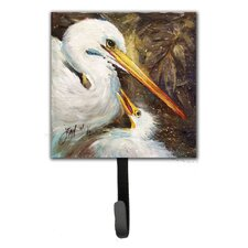Egret Feeding Baby Leash Holder and Wall Hook by Caroline's Treasures