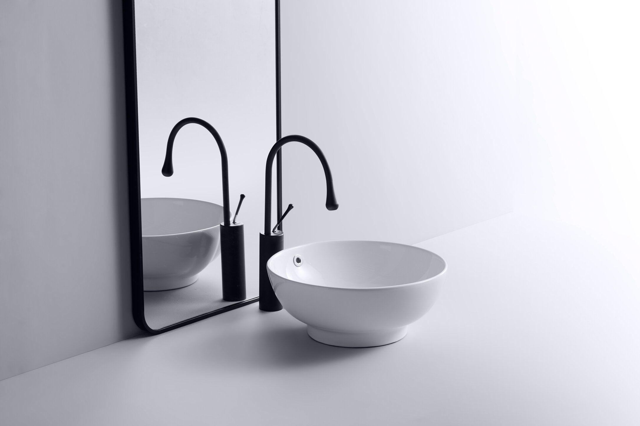 Eleoption White Ceramic Circular Vessel Bathroom Sink With Overflow Wayfair