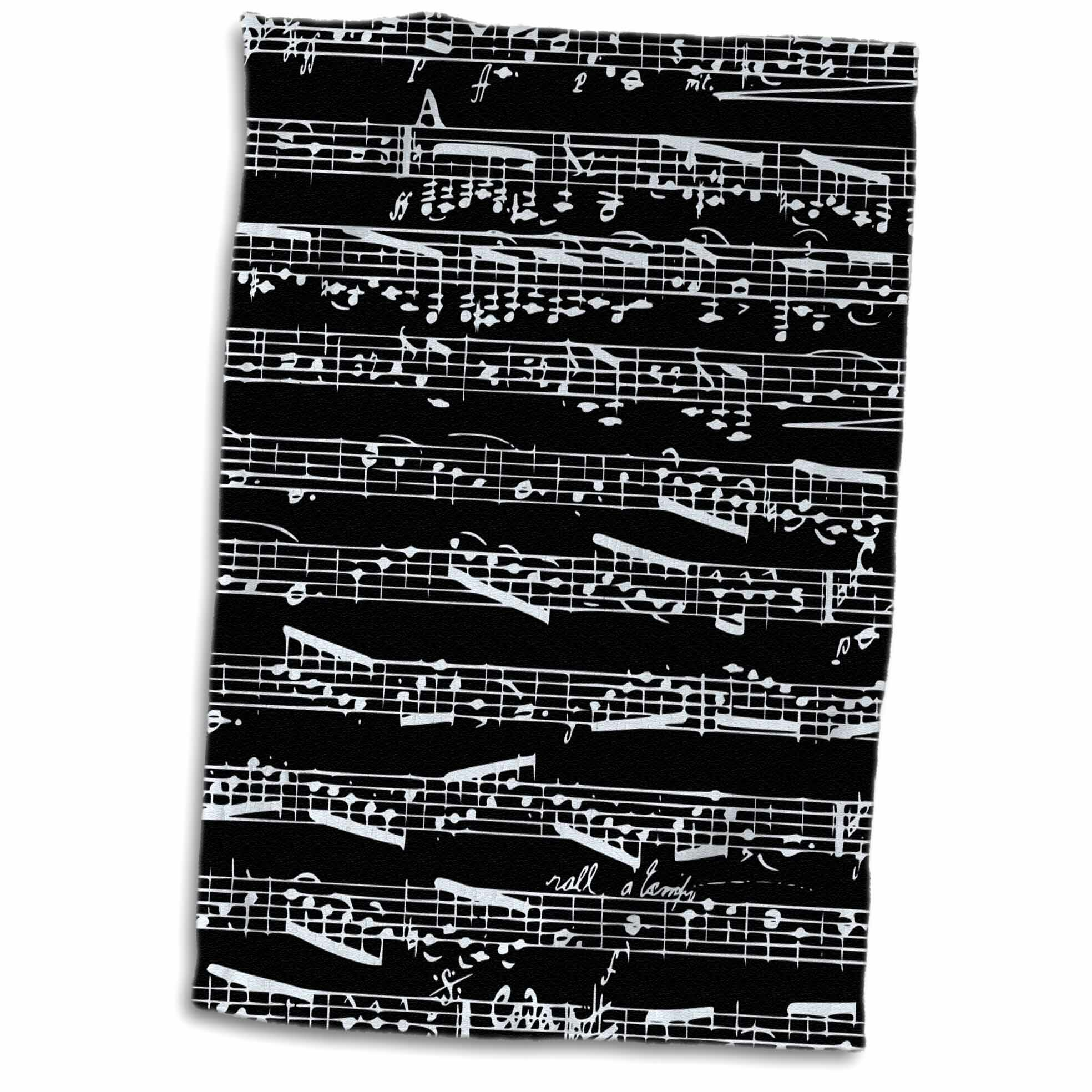 Symple Stuff Laroche Musical Notes Stylish Sheet Music Piano Notation Contemporary Hand Towel Wayfair