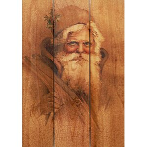 3 Piece Father Christmas Painting Print on Cedar