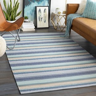 Bybrook Striped Handwoven Flatweave Aqua Indoor/Outdoor Area Rug