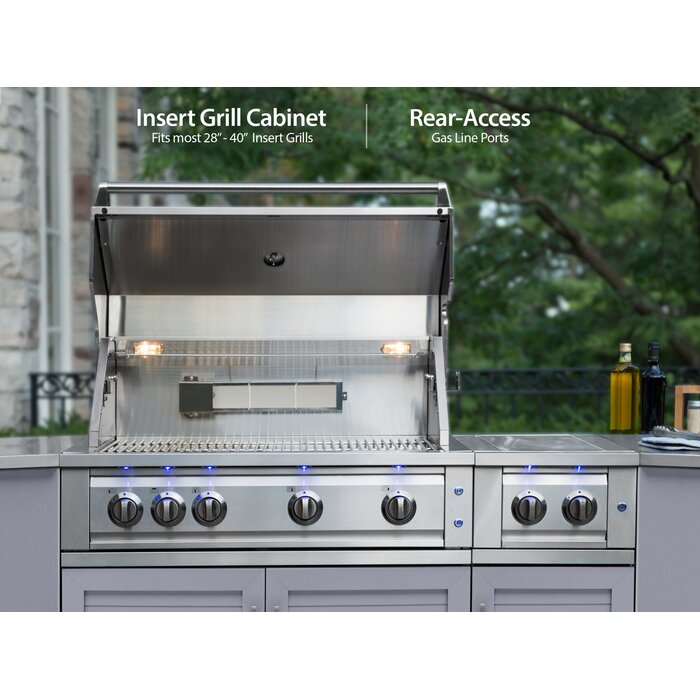Stainless Steel Bar Center 3-Piece Modular Outdoor Kitchen Cabinets