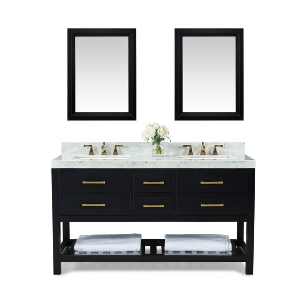 Coastal Farmhouse Carrie 60 Double Bathroom Vanity Set With Mirror Wayfair