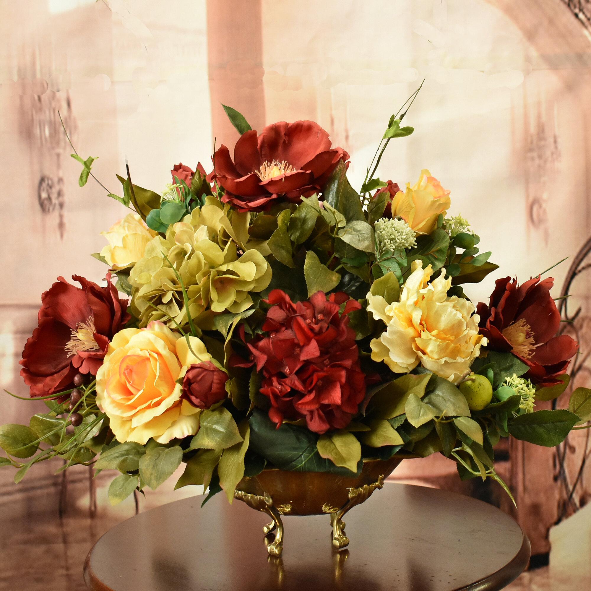 floral home decor magnolias silk floral centerpiece in bowl rh wayfair com silk sunflower arrangements silk floral centerpieces dining table