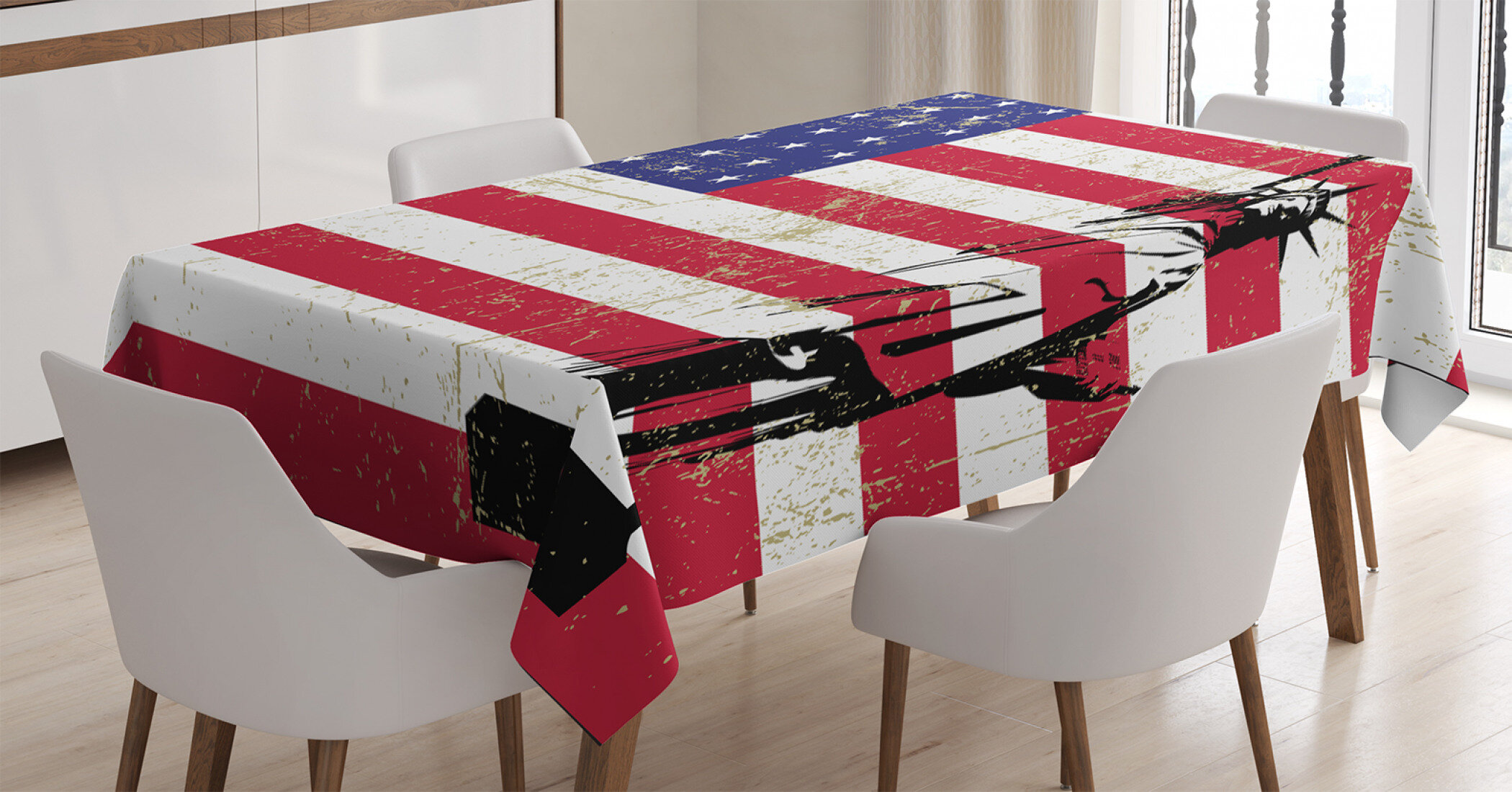 East Urban Home Ambesonne New York Tablecloth Liberty And Usa Flag Retro Style Enlightening World Famous Rectangular Table Cover For Dining Room Kitchen Decor 52 X 70 Dark Coral White Wayfair