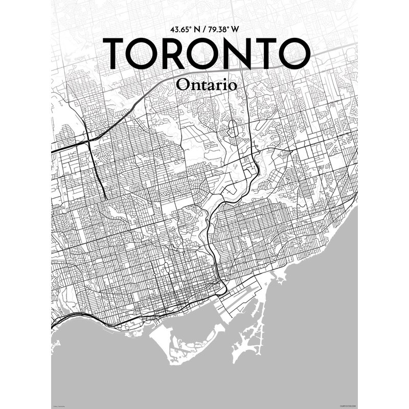 OurPoster.com 'Toronto City Map' Graphic Art Print Poster in Tones on