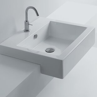 WS Bath Collections Whitestone Ceramic Square Drop-In Bathroom Sink with Overflow