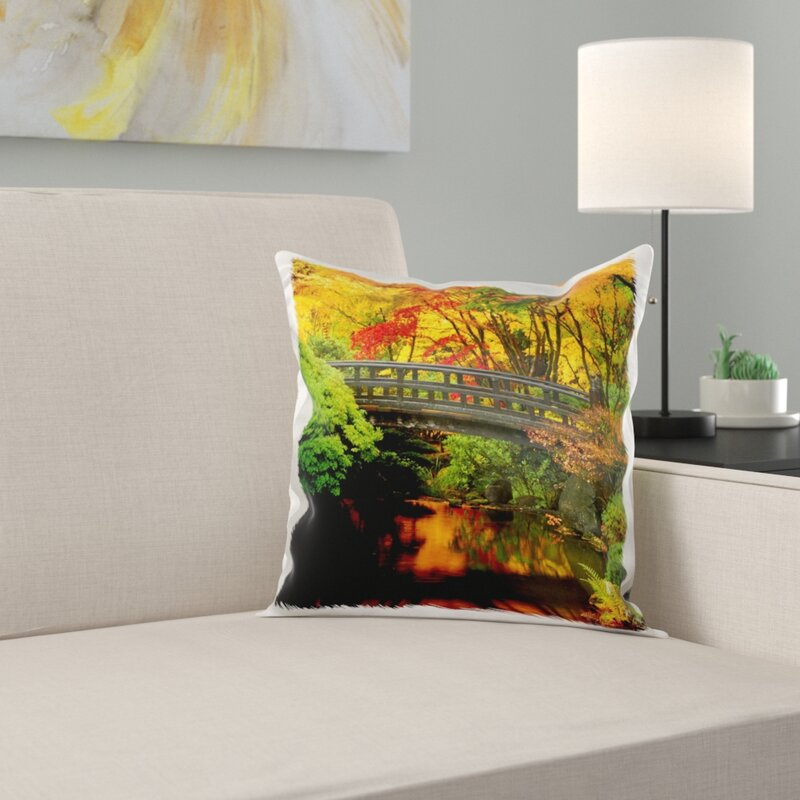 East Urban Home Moon Bridge Japanese Garden Portland Oregon Usa Pillow Cover Wayfair