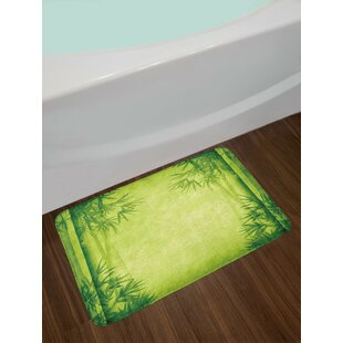 Bamboo Chinese Trees Design Asian Bath Rug