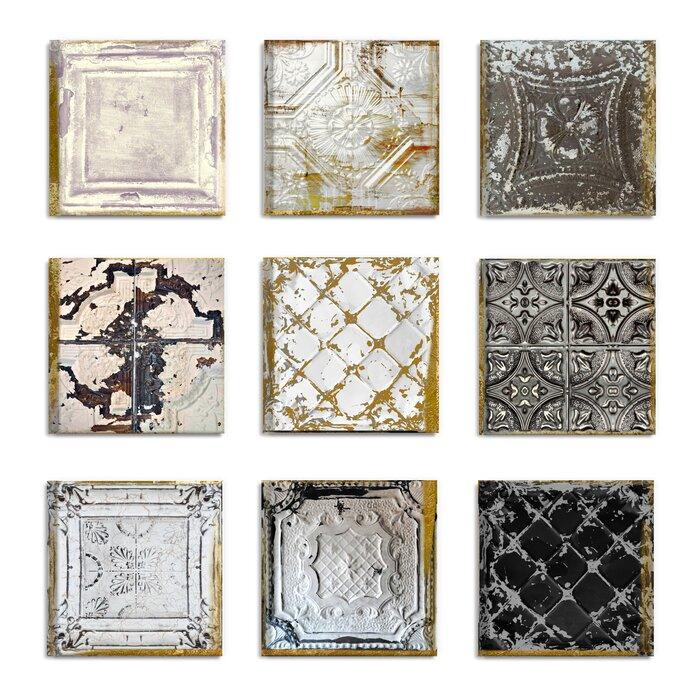 Vintage Tin Tiles 9 Piece Canvas Wall Art Set