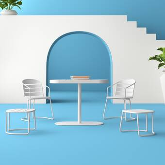 Ebern Designs Koa Round Indoor Outdoor 5 Piece Bar Height Dining Set Wayfair