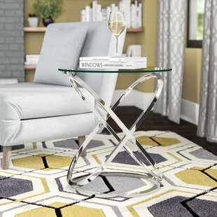 Jerrell Glass and Metal End Table