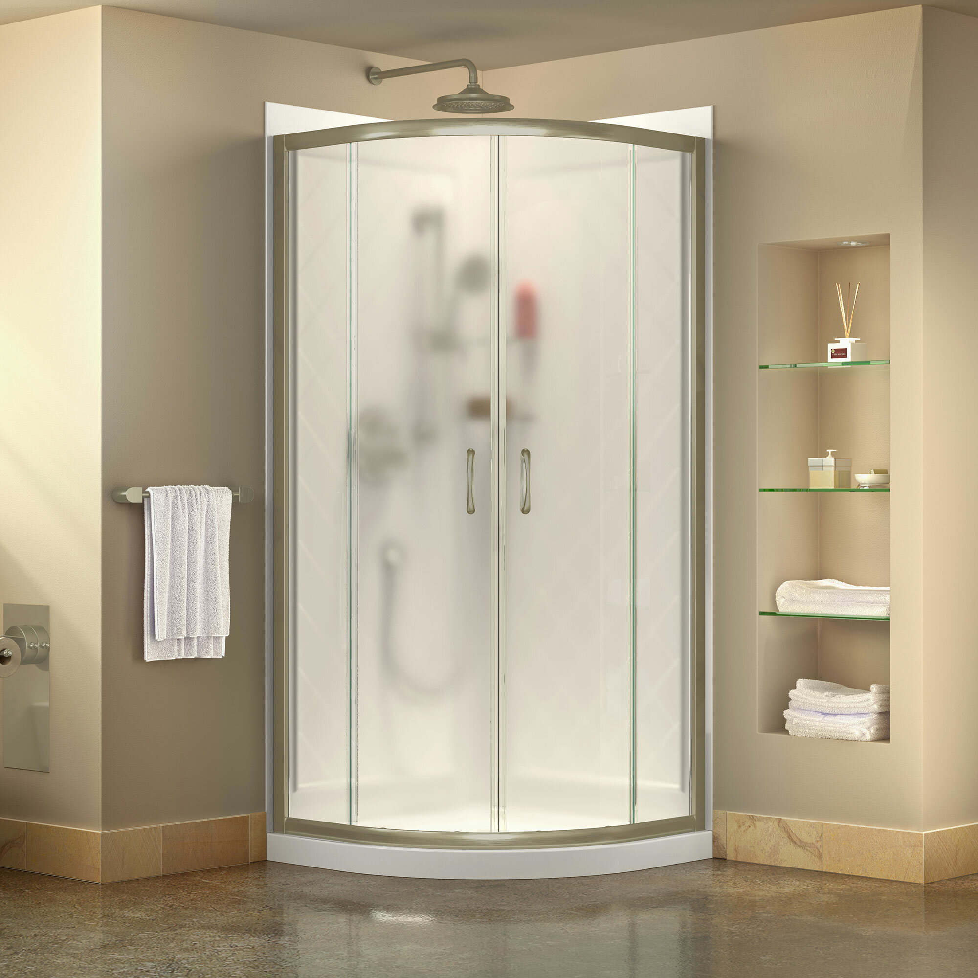 Dreamline Prime 38 X 76 75 Round Sliding Shower Enclosure With Base Included