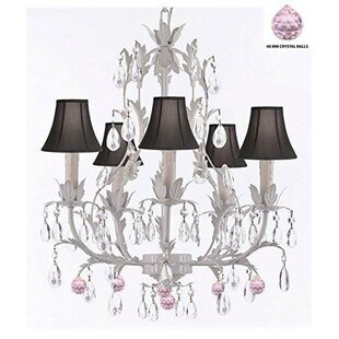 House of Hampton Mollett Floral 5-Light Shaded Chandelier