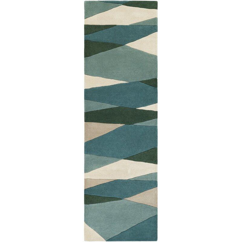 Ebern Designs Dewald Hand-Tufted Dark Green Area Rug