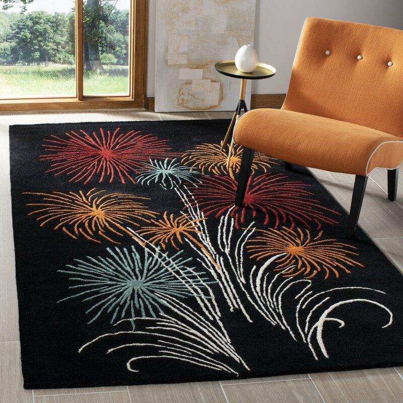 Ebern Designs Lockwood Floral Handmade Tufted Wool Black Area Rug Wayfair