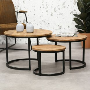 Review Foust 3 Piece Coffee Table Set