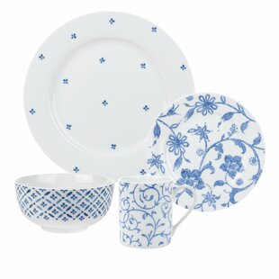 Blue 16 Piece Dinnerware Set, Service for 4