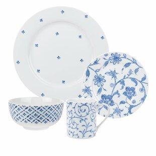 6fbe1f5647b0 Spode Home Blue Indigo 16 Piece Dinnerware Set, Service for 4