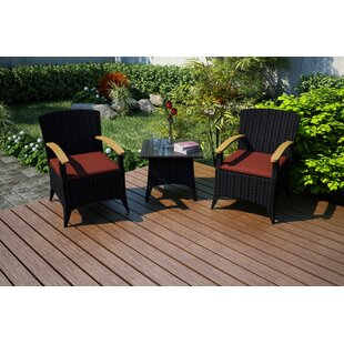 Holbrook 3 Piece Sunbrella Conversation Set with Cushions