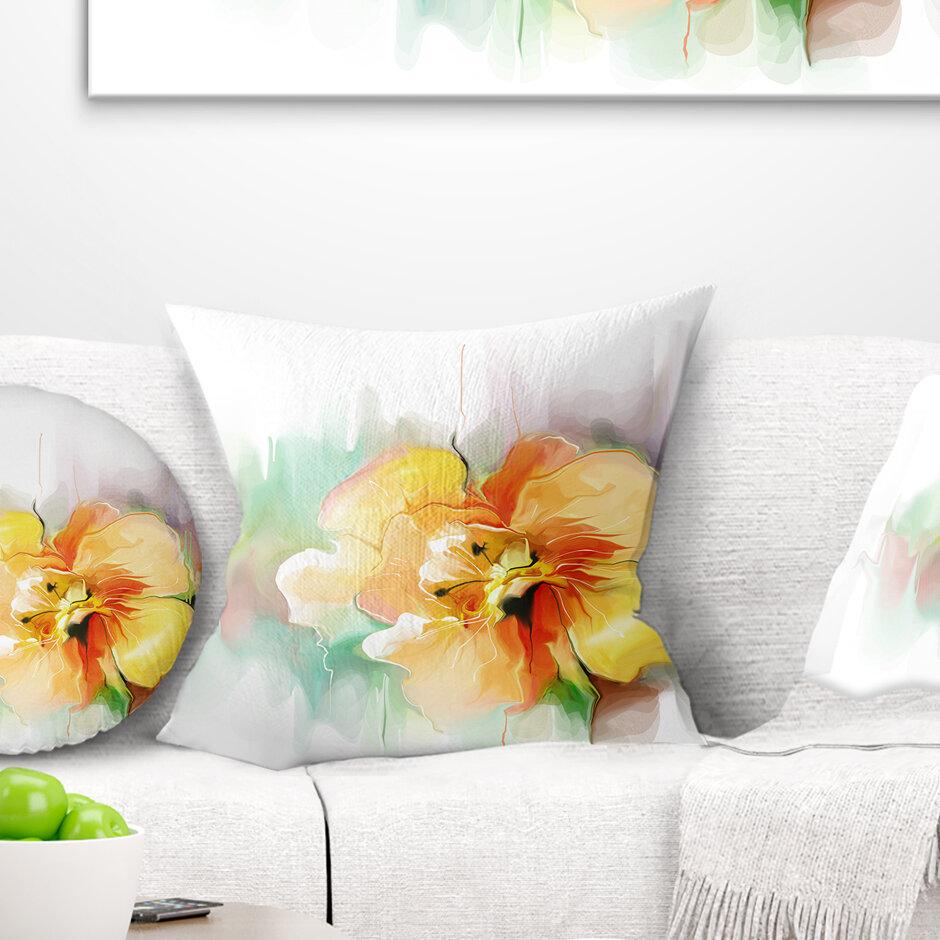 East Urban Home Floral Beautiful Flower Drawing Pillow Wayfair