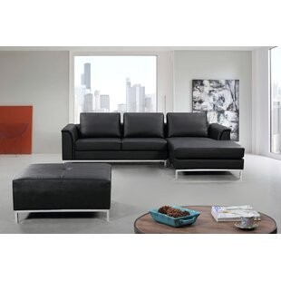 Catlett Leather Reversible Sectional with Ottoman ByWade Logan