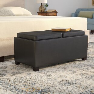 Cy Leather Tufted Storage Ottoman