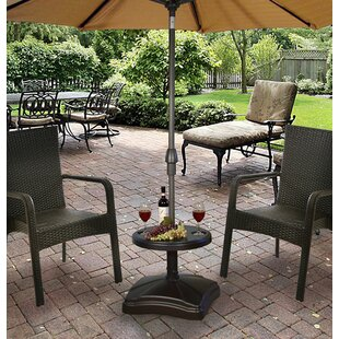 Bryana Rolling Resin Free Standing Umbrella Base with Table Accessory