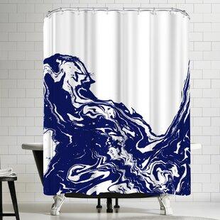 Charlotte Winter Indigo Wave Shower Curtain