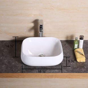 Where buy  Ceramic Rectangular Vessel Bathroom Sink By Luxier