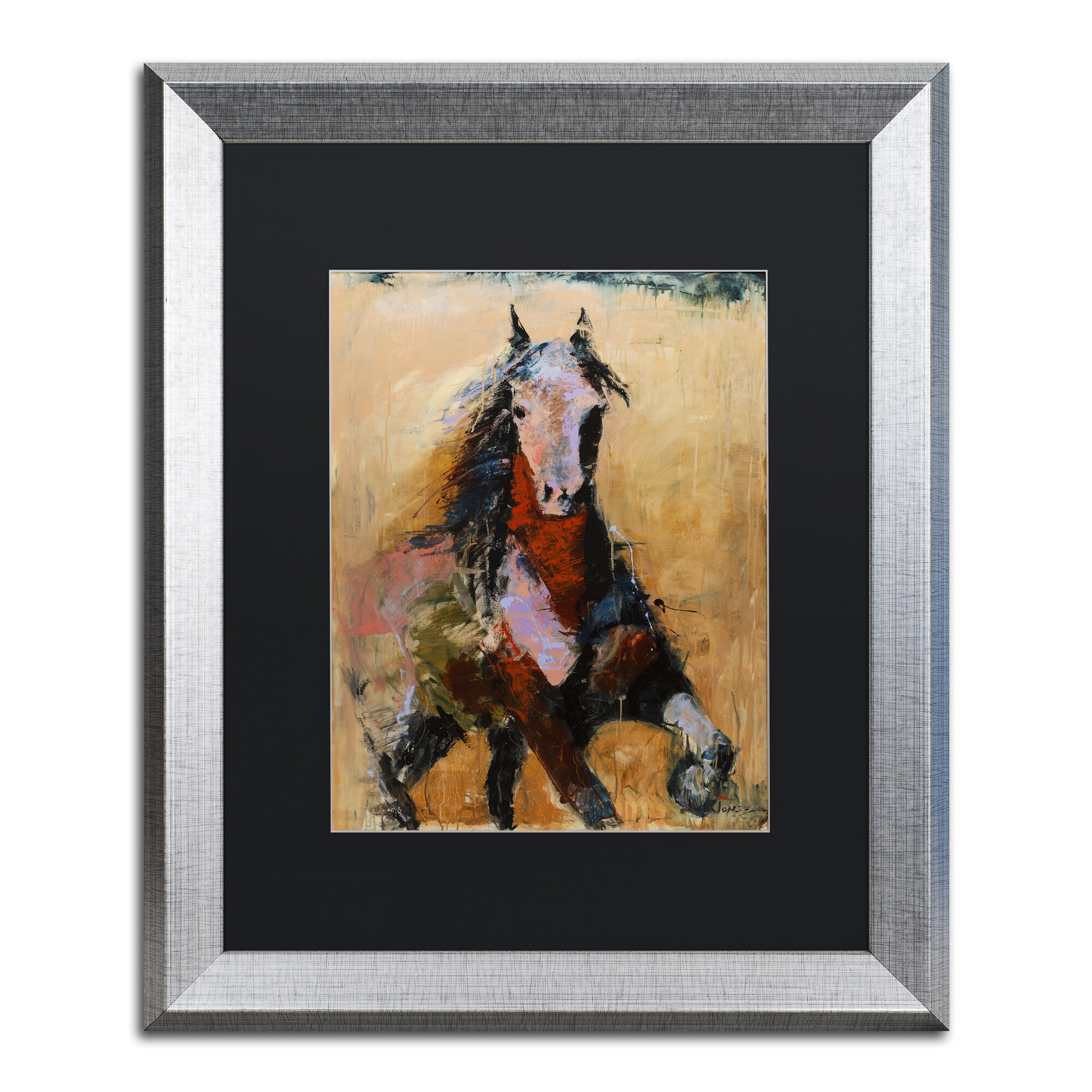 Trademark Art Golden Horse Matted Framed Painting Print On Canvas Wayfair