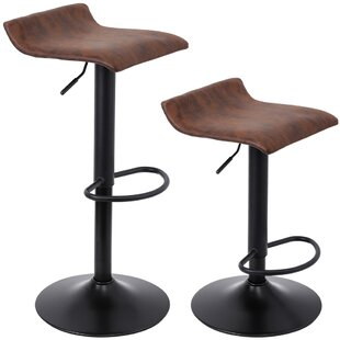 Estey Swivel Adjustable Height Bar Stool Set of 2 by 17 Stories