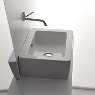 WS Bath Collections Kerasan Ceramic Rectangular Vessel Bathroom Sink with Overflow