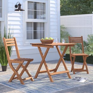 Crabb Wood 3 Piece Bistro Set by Rosecliff Heights