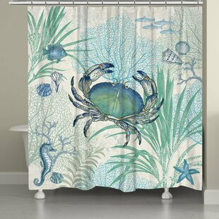 Price Check Crab Shower Curtain By Laural Home